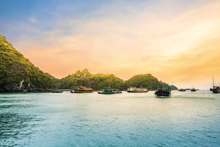 Beautiful Golden sunset view from cruise ship at the Halong bay, Vietnam