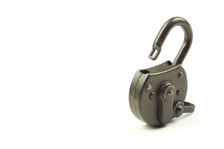 Green unlocked padlock on white background. Security and data protection