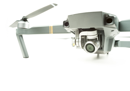Surveillance camera drone on a white background with text space Stock Photo