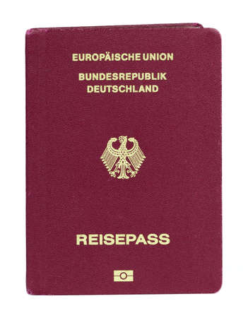 Pembrokeshire, United Kingdom - January 20, 2018: German European Union biometric passport on a white background Redakční
