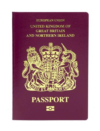 Pembrokeshire, United Kingdom - January 20, 2018: United Kingdom biometric passport on a white background Redakční