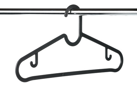 Empty black coat hanger  clothes hanger against a white background Reklamní fotografie