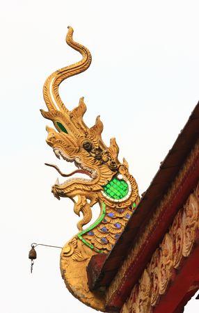 naga china: Dragons head detail on temple in Northern Thailan Stock Photo