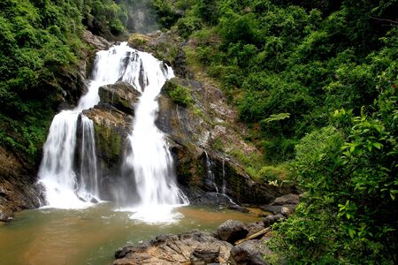 evergreen forest: Large central waterfall dry evergreen forest in southern Thailand