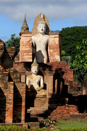 ruination: Old Temple in Sukhothai in Thailand