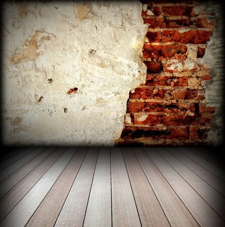 brick wall and wood floor Stock Photo - 8146253