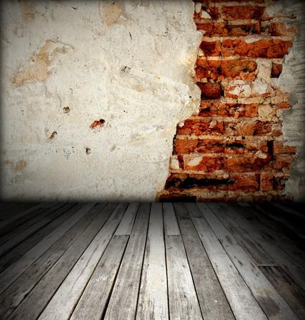 brick wall and wood floor Stock Photo