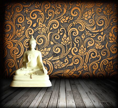 White Buddha Thai patterns in room photo