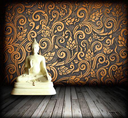 buddha face: White Buddha Thai patterns in room