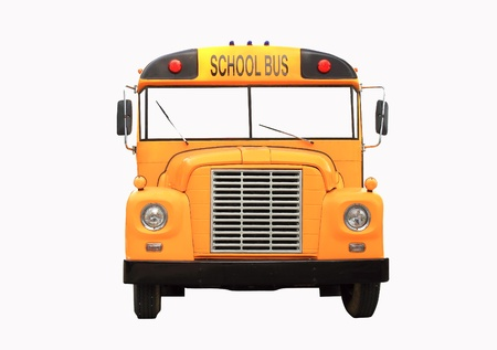 Yellow school bus isolated on white - front view Stock Photo