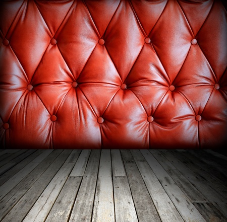 grunge interior with leather wall photo