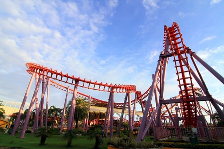 rollercoaster: a steel roller coaster Stock Photo