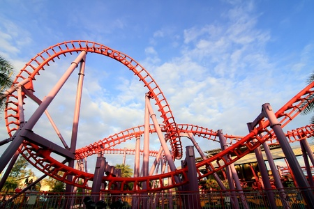 a steel roller coaster Editorial