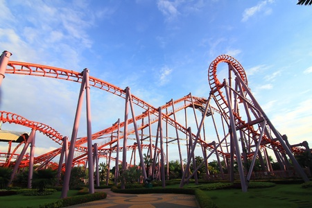 a steel roller coaster Stock Photo