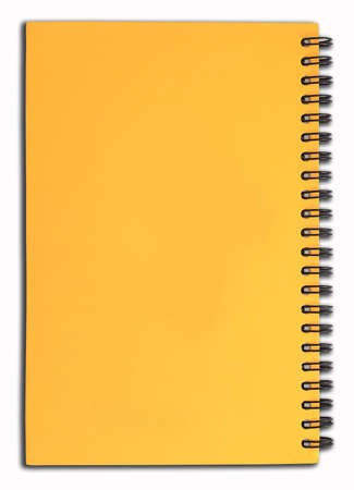 isolated yellow notebook on white photo