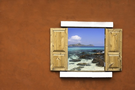 Window with view of the sea photo