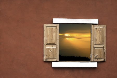 sunset on  through the windows photo