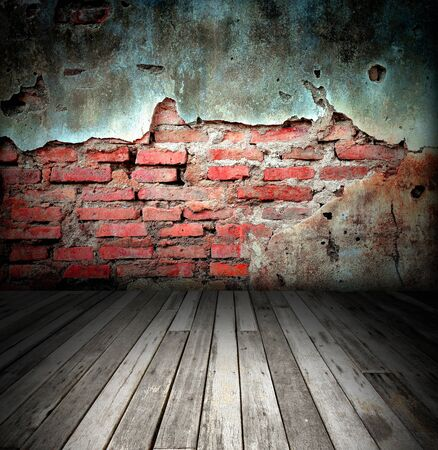 old room with brick wall photo