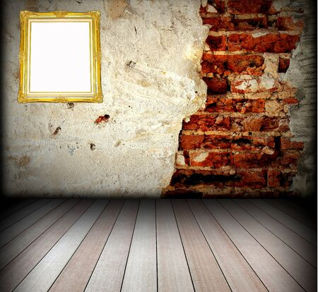 wooden frame on the stone wall Stock Photo - 8498764