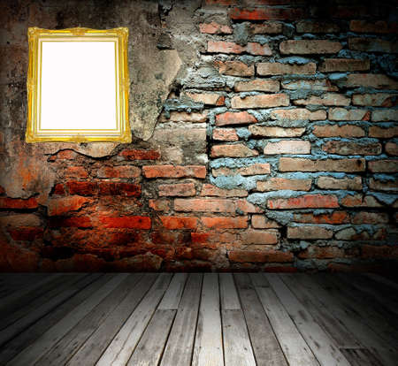 wooden frame on the stone wall Stock Photo - 8498770