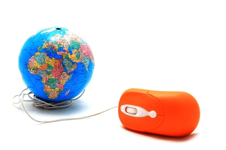 Computer mouse and Globe, concept of global Communication, internet Stock Photo - 8545906