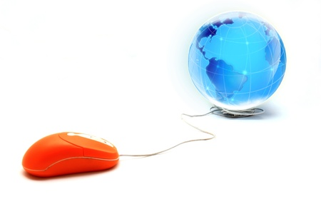 Computer mouse and Globe, concept of global Communication, internet photo