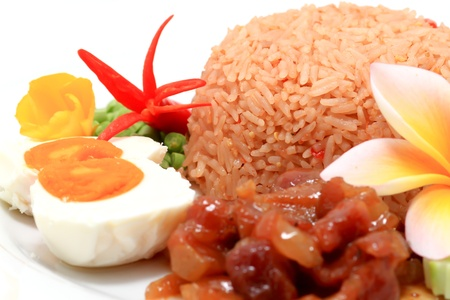 hai fried rice on plate traditional asian cuisine photo