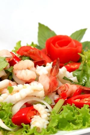 Thai seafood salad in thai restaurant photo