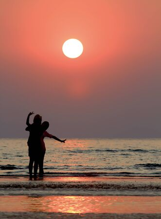 silhouette of woman on the sunset Stock Photo - 8750578