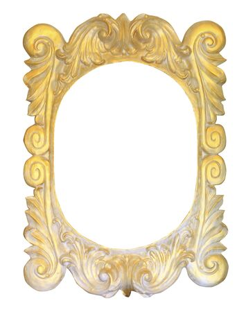 Old gold frame over white background photo