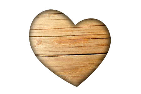 big brown wooden heart on white background photo