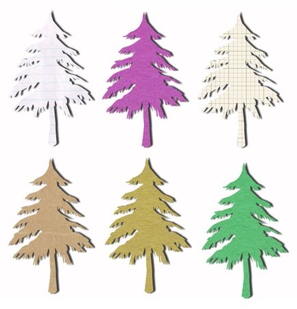tree tag recycled paper craft stick on white background photo
