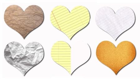 heart recycled paper stick on white background Stock Photo - 9430717