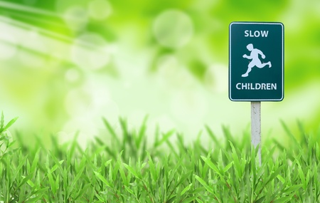 running sign on green grass Stock Photo - 9440324
