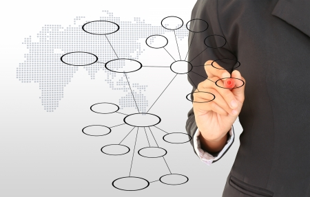 corporate vision: hand drawing in a whiteboard Stock Photo