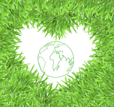 isolated green heart grass photo frame with     sketch globe photo