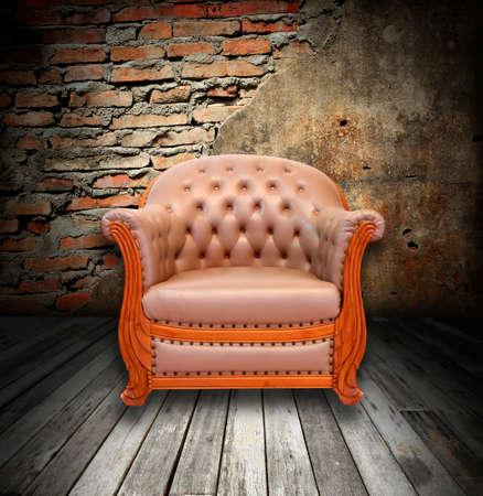 interior grunge room with classic sofa Stock Photo - 9521050