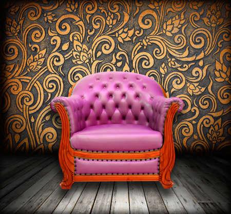 interior grunge room with classic sofa Stock Photo - 9521043