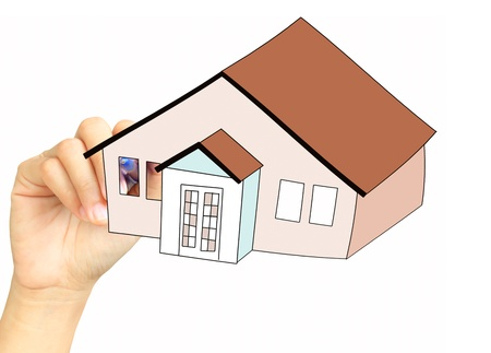 Hand drawing a home photo