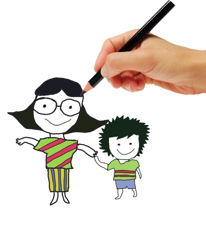 Hand drawing a happy family photo