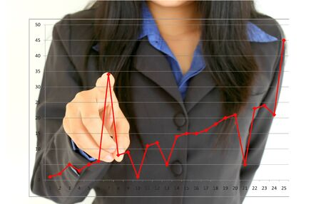share information: Profit Growing - Business women and diagram Stock Photo