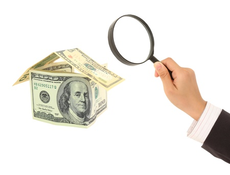 lien: Real Estate concept on big home  dollar background Stock Photo