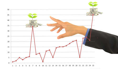 dollar money and busines with graphs. Stock Photo - 9606226