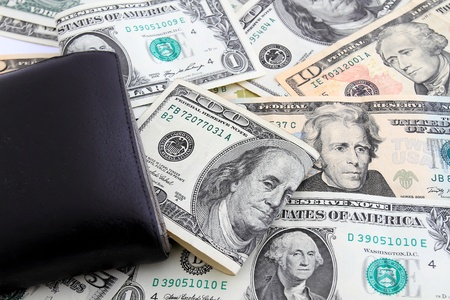 black leather wallet with money  dollars Stock Photo - 9602301