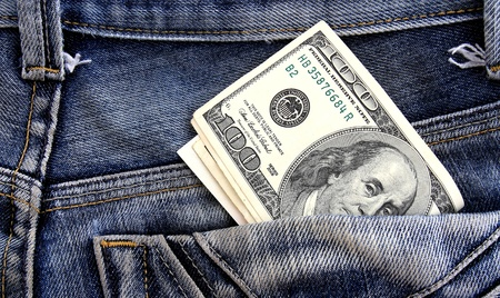 dollars in a jeans pocket, closeup Stock Photo - 9602310