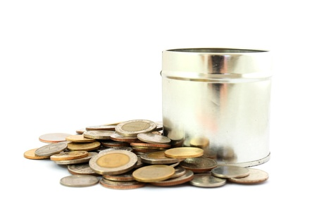 coins in a tin can . Isolated over white . Stock Photo - 9649991