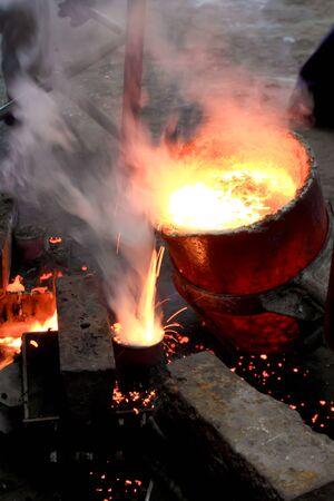 steel works: Liquid metal from blast furnace