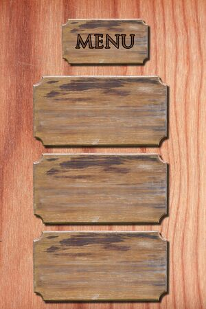 Menu wood on wood wall photo