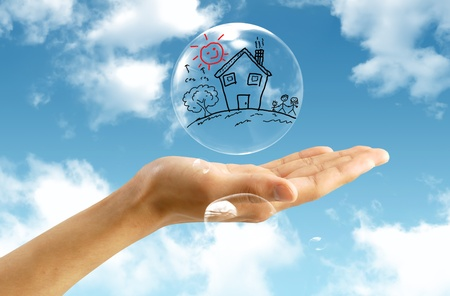 subprime: Real-Estate Bubble on the background sky