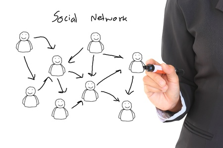 drawing social network structure in a whiteboard Stock Photo
